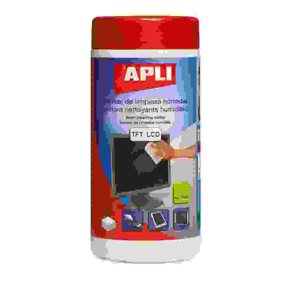 100 Toallitas de Limpieza para Pantallas TFT/LCD Apli 11302