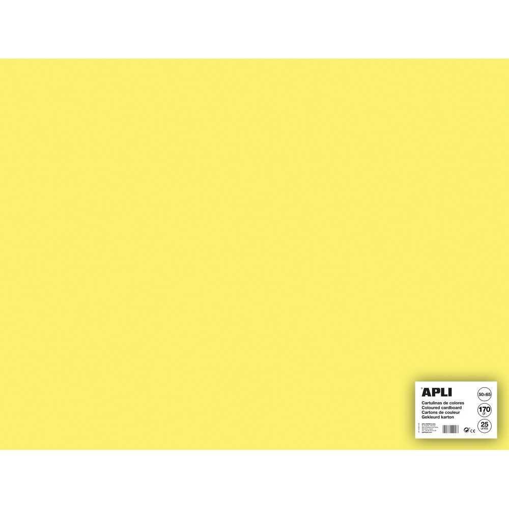 25 Hojas Cartulina 50 x 65cm Color Amarillo Claro Apli 14256