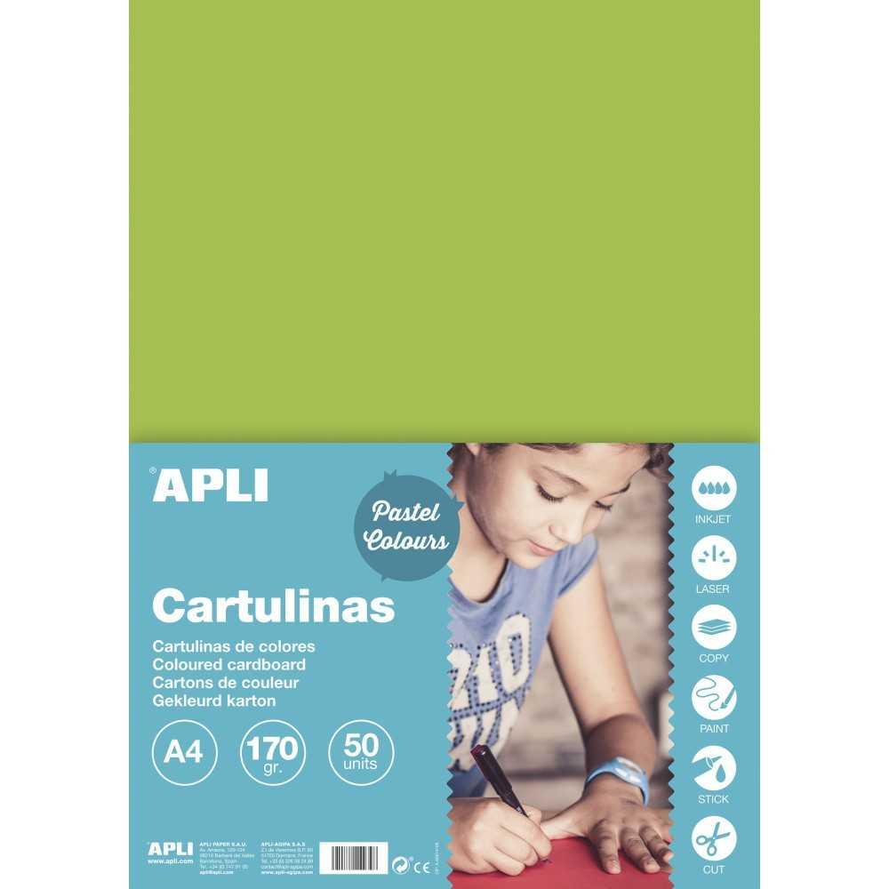 50 Hojas Cartulina A4, 170gr Color Verde Claro Apli 14232