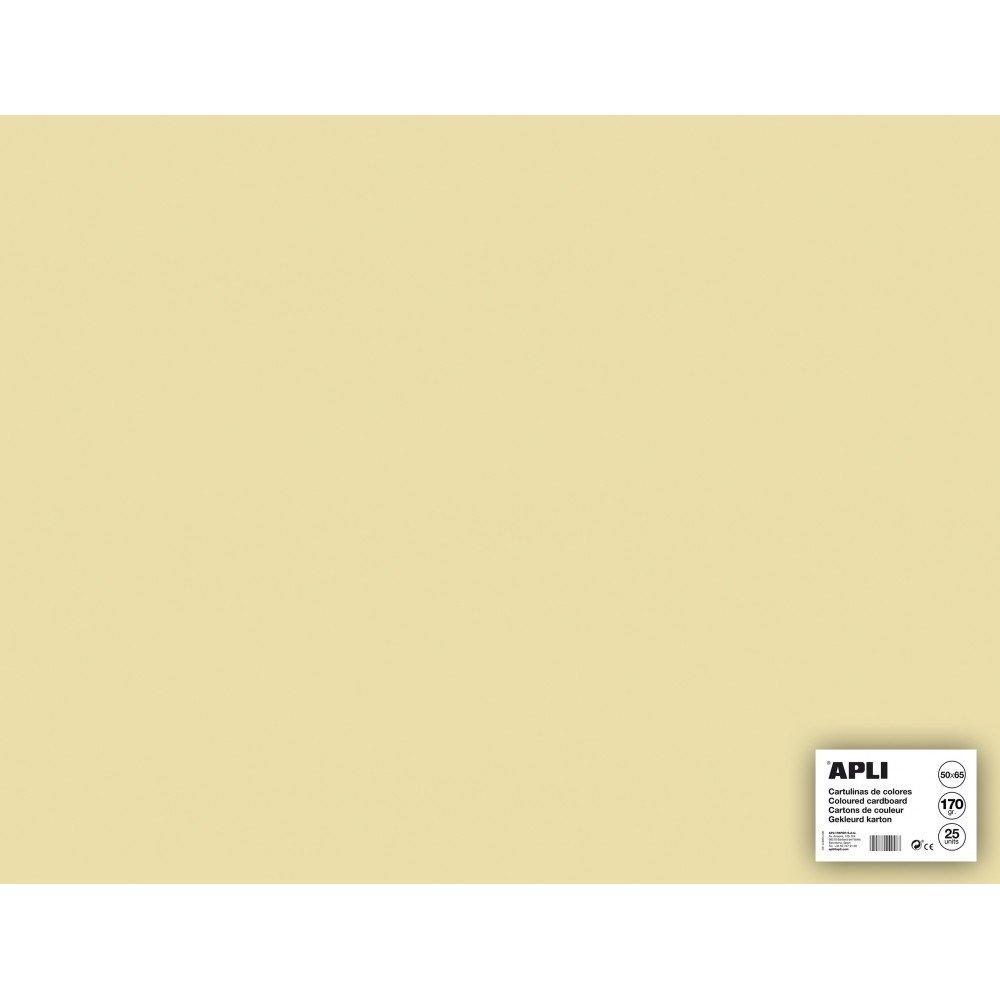 25 Hojas Cartulina Color Crema 50x65cm Apli 14259