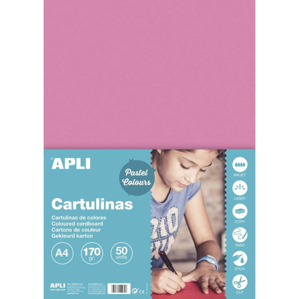 50 Hojas Cartulina A4, 170gr Color Rosa Apli 14235 compraetiquetas.com