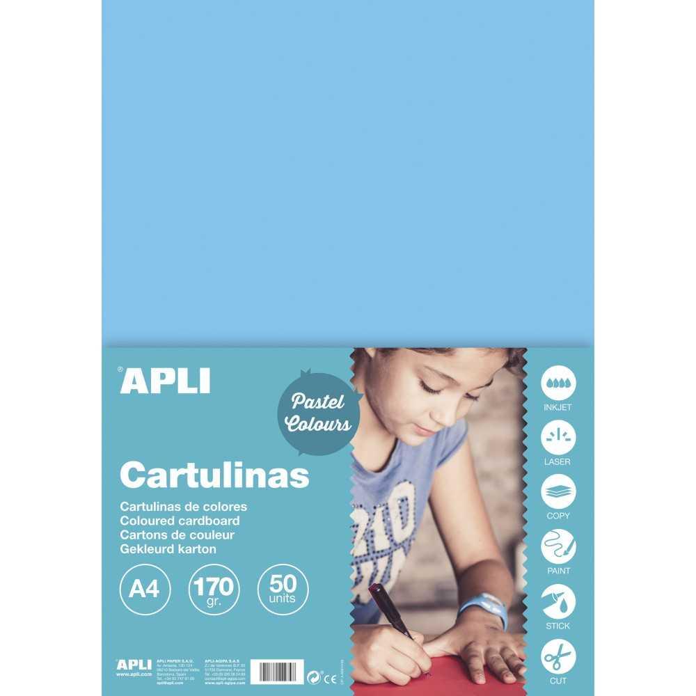 50 Hojas Cartulina A4, 170gr Color Azul Claro Apli 14236