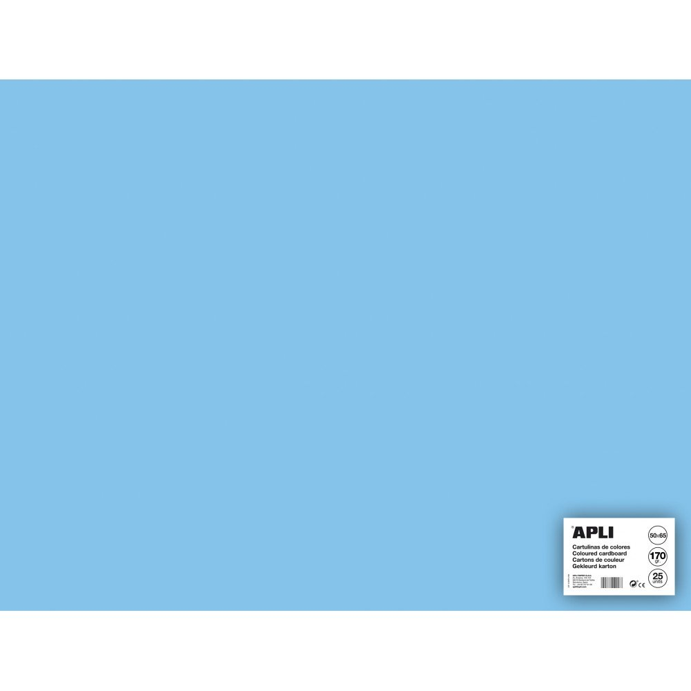 25 Hojas Cartulina 50 x 65cm Color Azul Claro Apli 14262