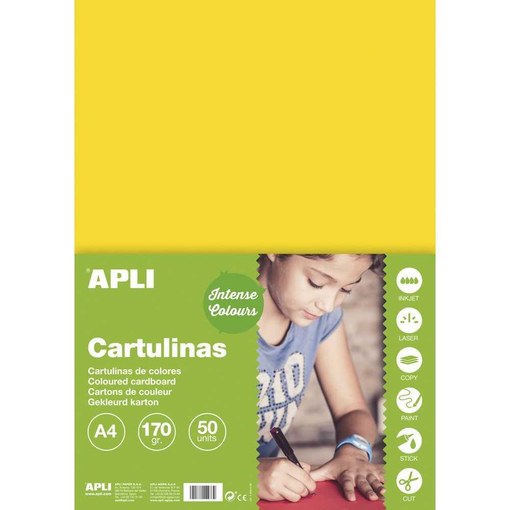 50 Hojas Cartulina A4, 170gr Color Amarillo Apli 14237