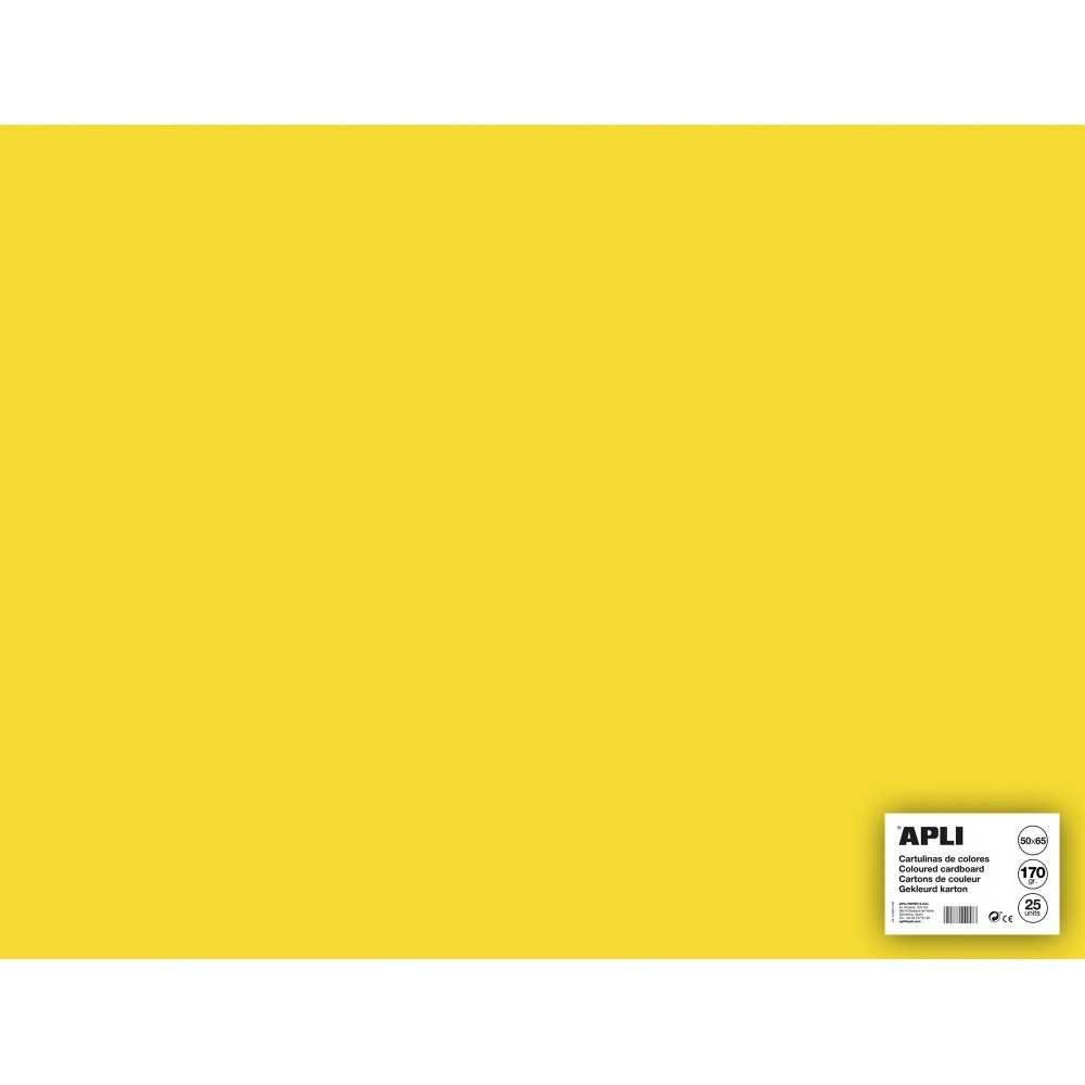 25 Hojas Cartulina 50x65cm Color Amarillo Apli 14263