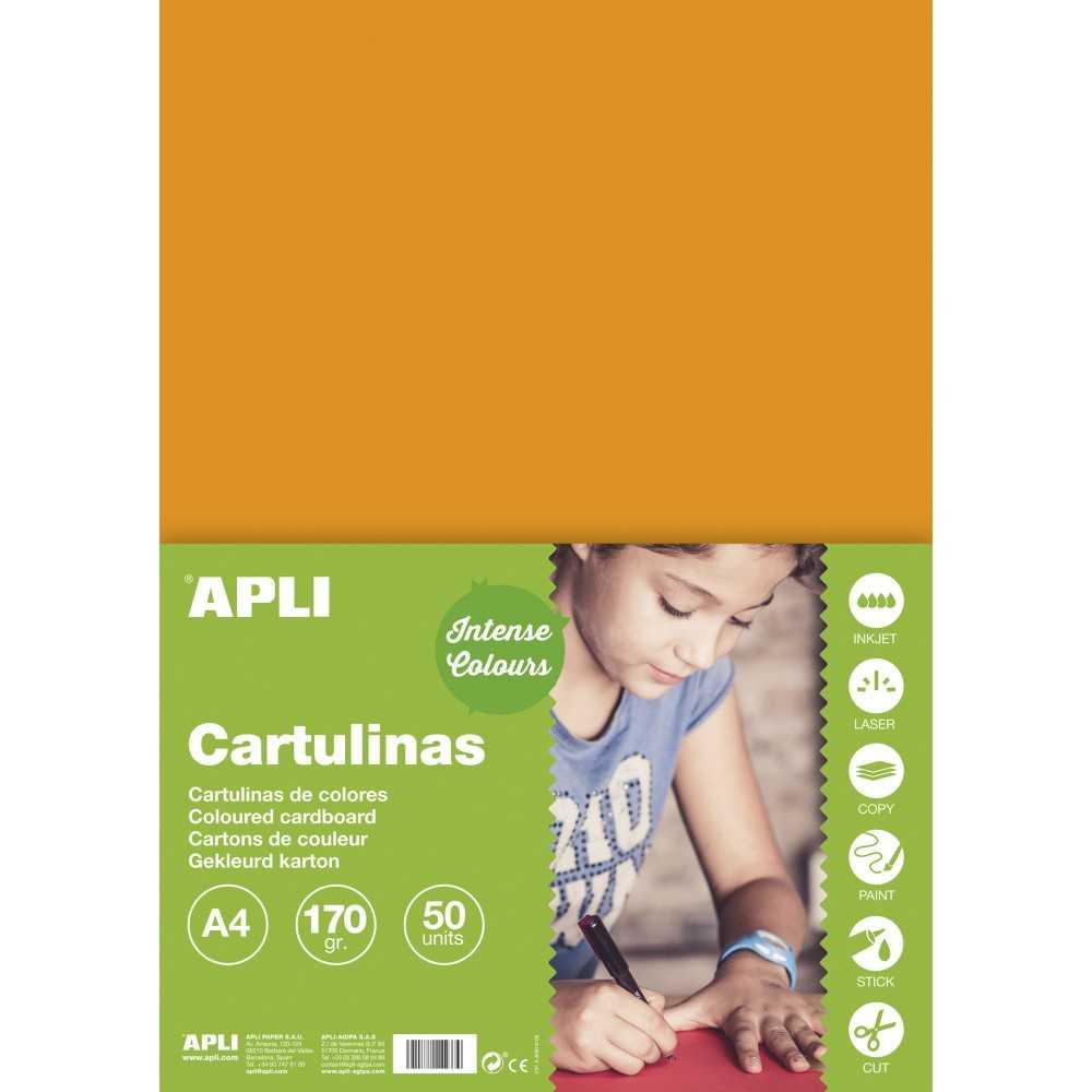 50 Hojas Cartulina A4, 170gr Color Naranja Apli 14238