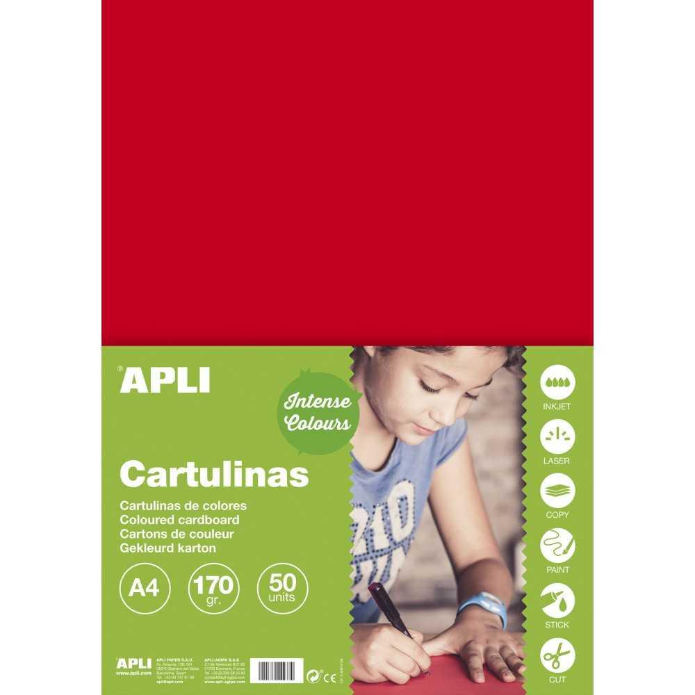 50 Hojas Cartulina A4, 170gr Color Rojo Apli 14239