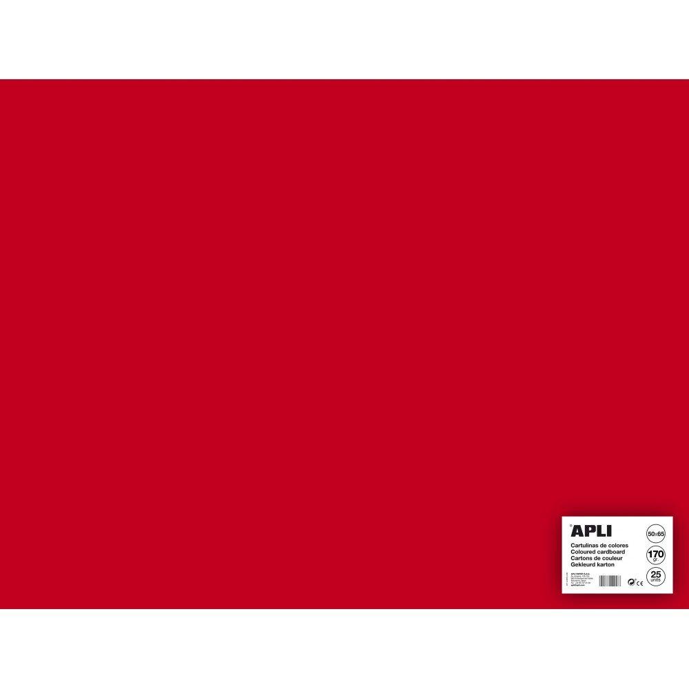 25 Hojas Cartulina 50 x 65cm Color Rojo Apli 14265