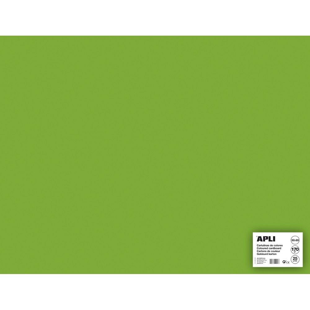 25 Hojas Cartulina 50x65cm Color Verde Hierba Apli 14266