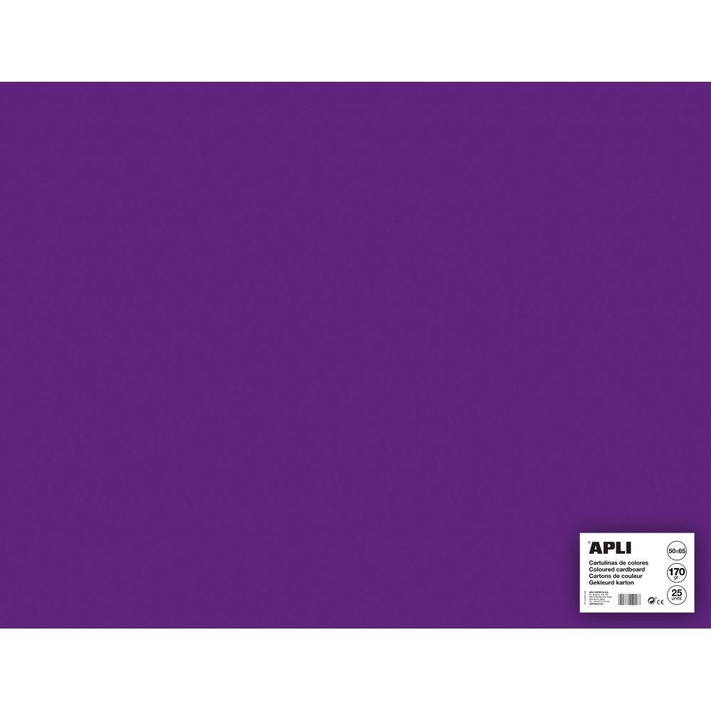25 Hojas Cartulina 50x65cm Color Violeta Apli 14270 compraetiquetas.com