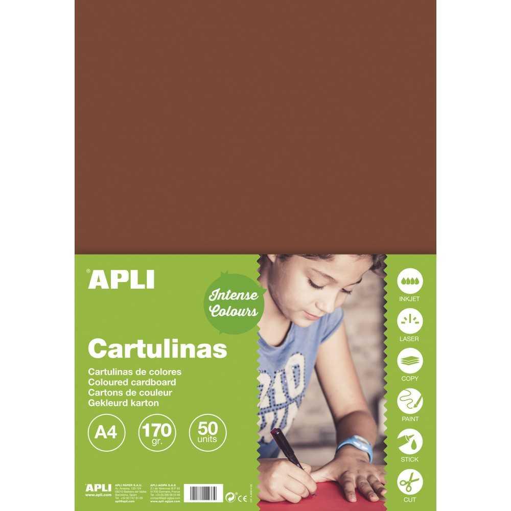 50 Hojas Cartulina A4, 170gr Color Marrón Apli 14245