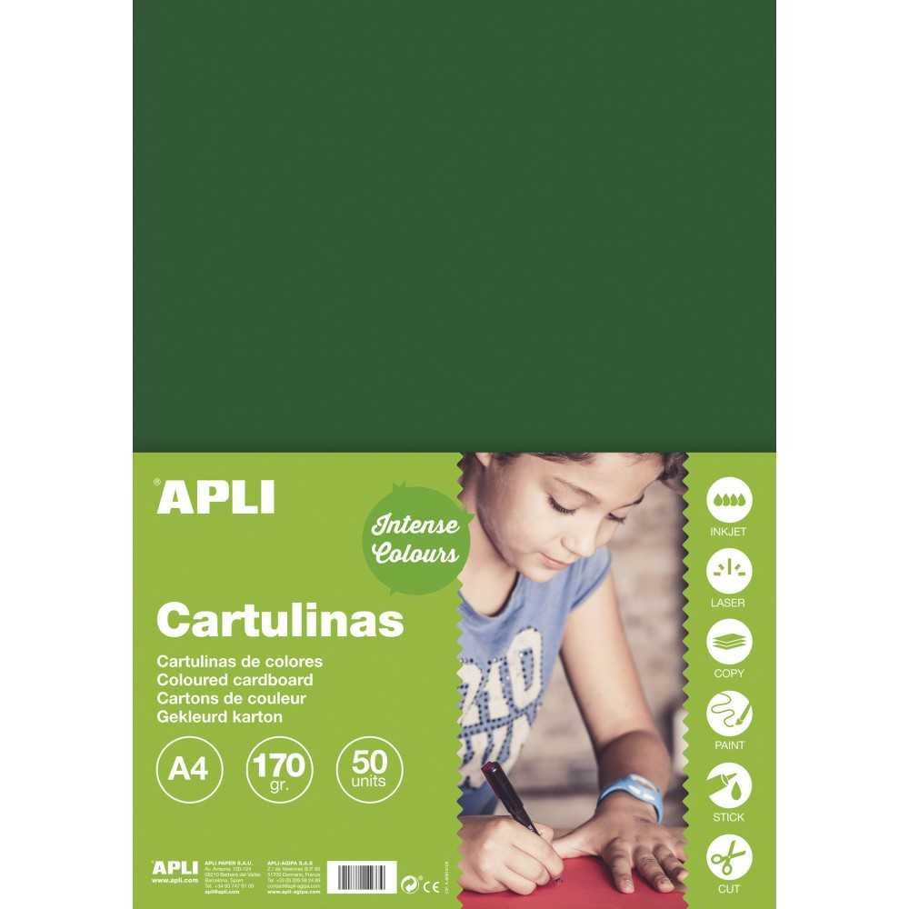 50 Hojas Cartulina A4, 170gr Color Verde Oscuro Apli 14246