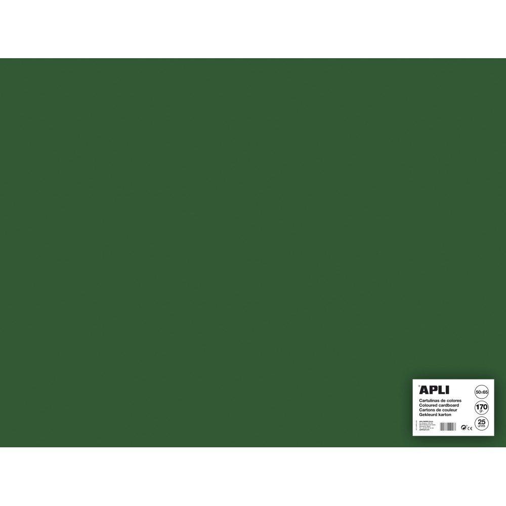 25 Hojas Cartulina 50x65cm Color Verde Oscuro Apli 14272