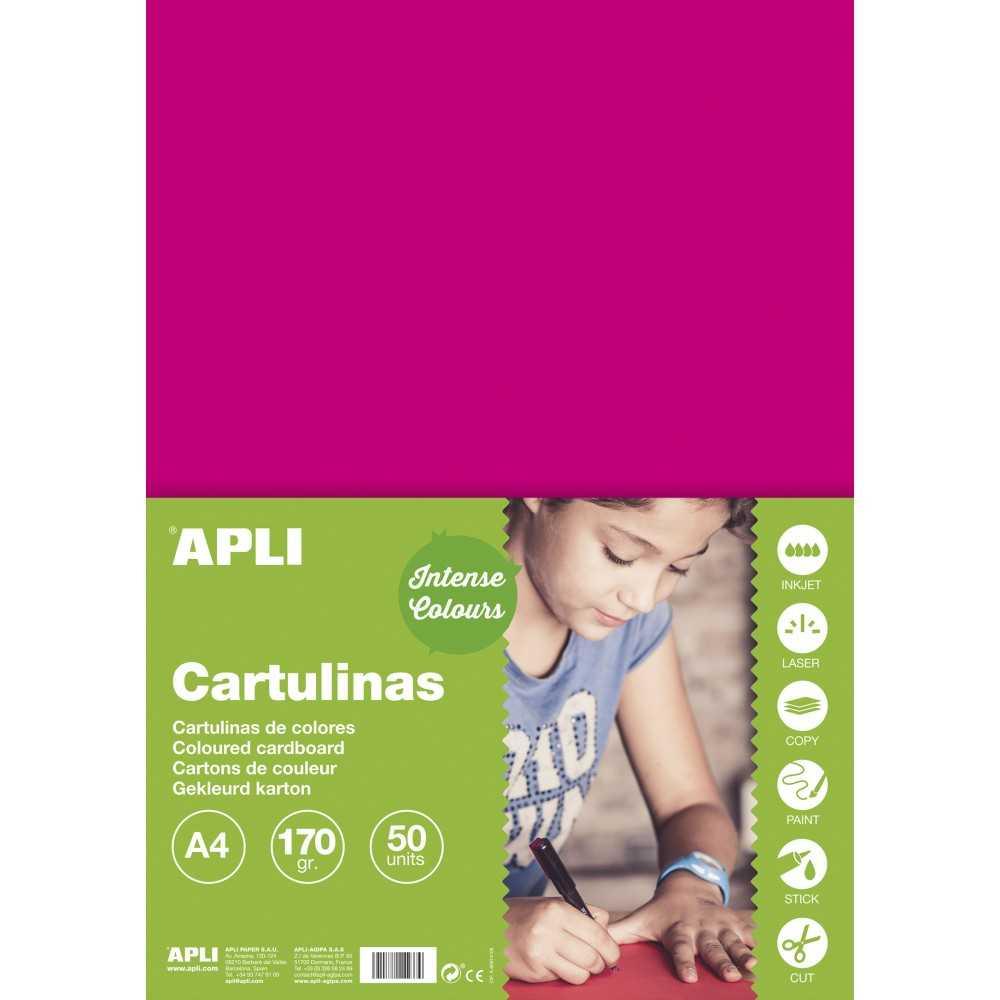 50 Hojas Cartulina A4, 170gr Color Fúcsia Apli 14248