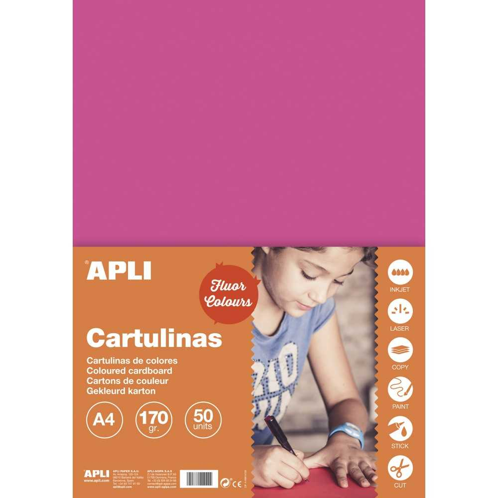 50 Hojas Cartulina A4, 170gr Color Rosa Fluor Apli 14251