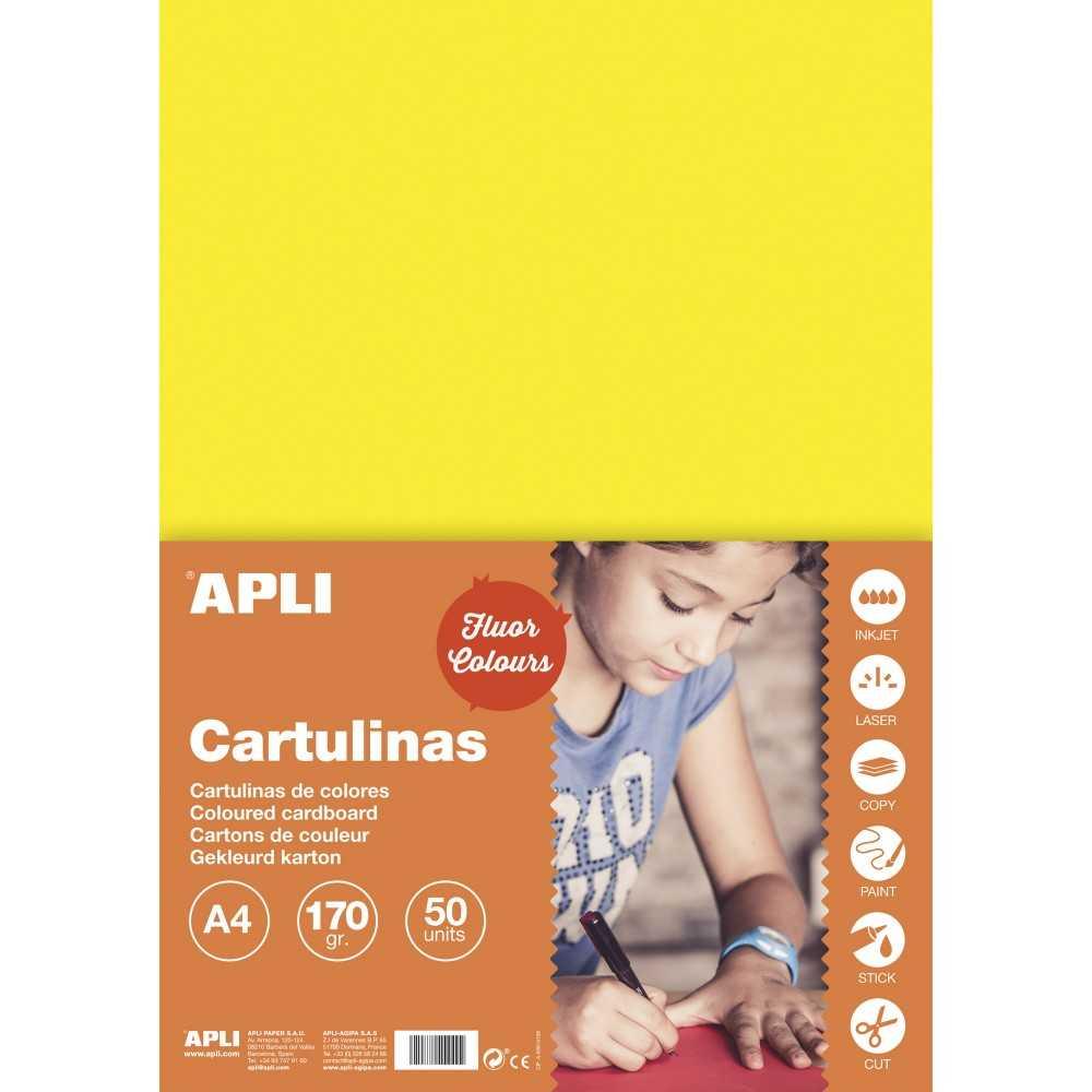 50 Hojas Cartulina A4, 170gr Color Amarillo Fluor Apli 14252