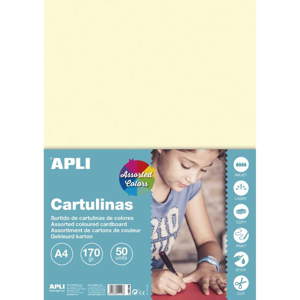 50 Hojas Cartulina A4 170gr Colores Surtidos Pastel Apli 15116