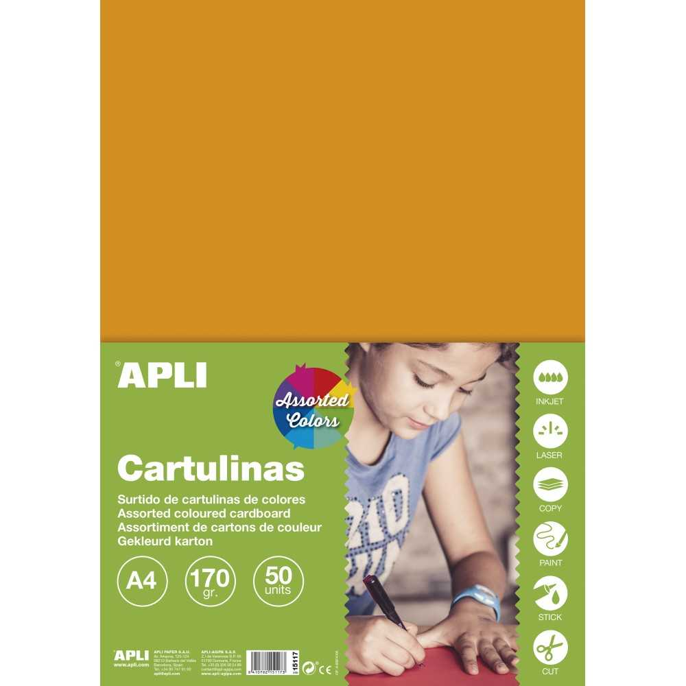 50 Hojas Cartulina A4, 170gr Colores Surtidos Intensos Apli 15117