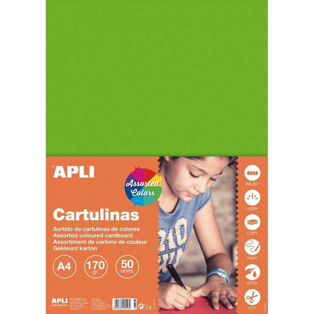 50Hojas Cartulina A4, 170gr Surtido 4 Colores Fluor Apli 16216