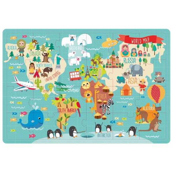 """Caja Metálica Puzzle """" Mapa Mundi"""" Apli 14550"""