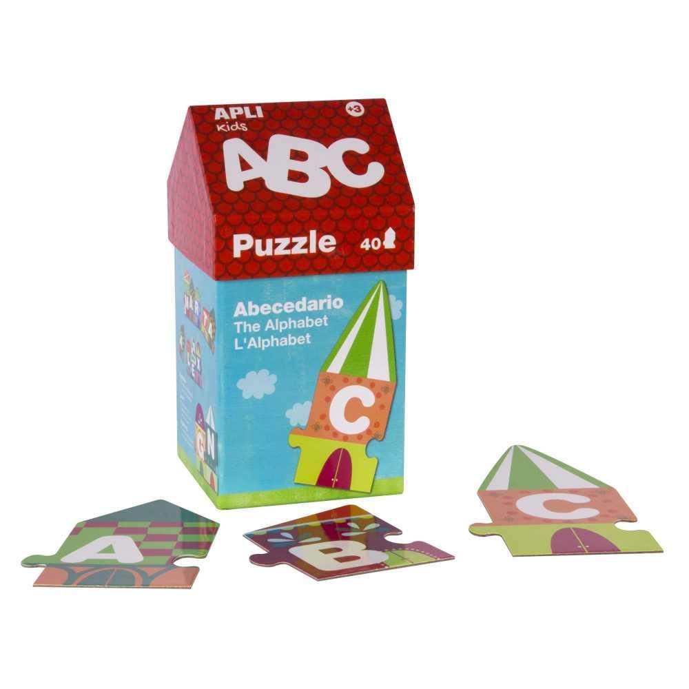Puzzle ABC en cajita de cartón con forma de casita Apli 14805 compraetiquetas.com