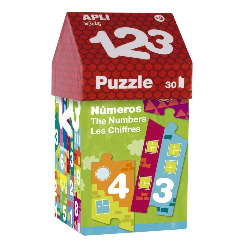 Puzle 123 en cajita de cartón con forma de casita Apli 14806