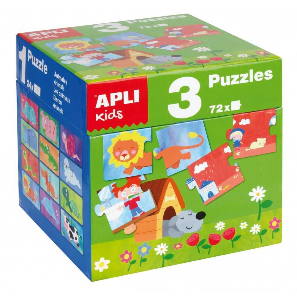 Caja Cubo 3 Puzzles Infantiles Diferentes Temáticas Apli 14114