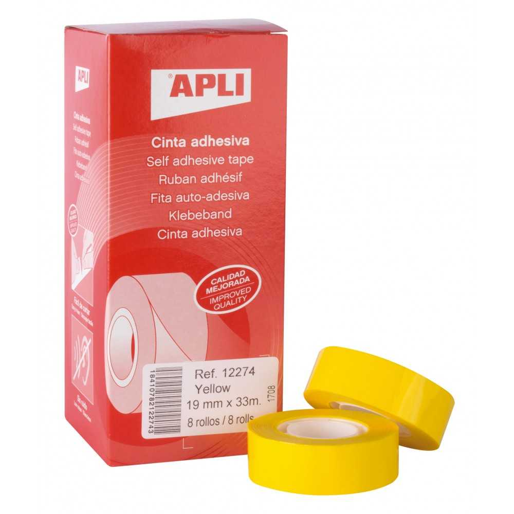 Cinta Adhesiva de Color Amarillo 19mm x 33m Apli 12274 compraetiquetas.com