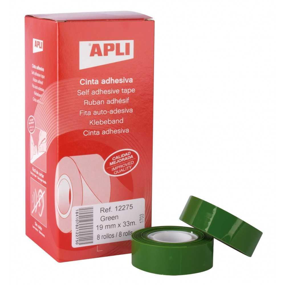 Cinta Adhesiva de Color Verde 19mm x 33m Apli 12275 compraetiquetas.com