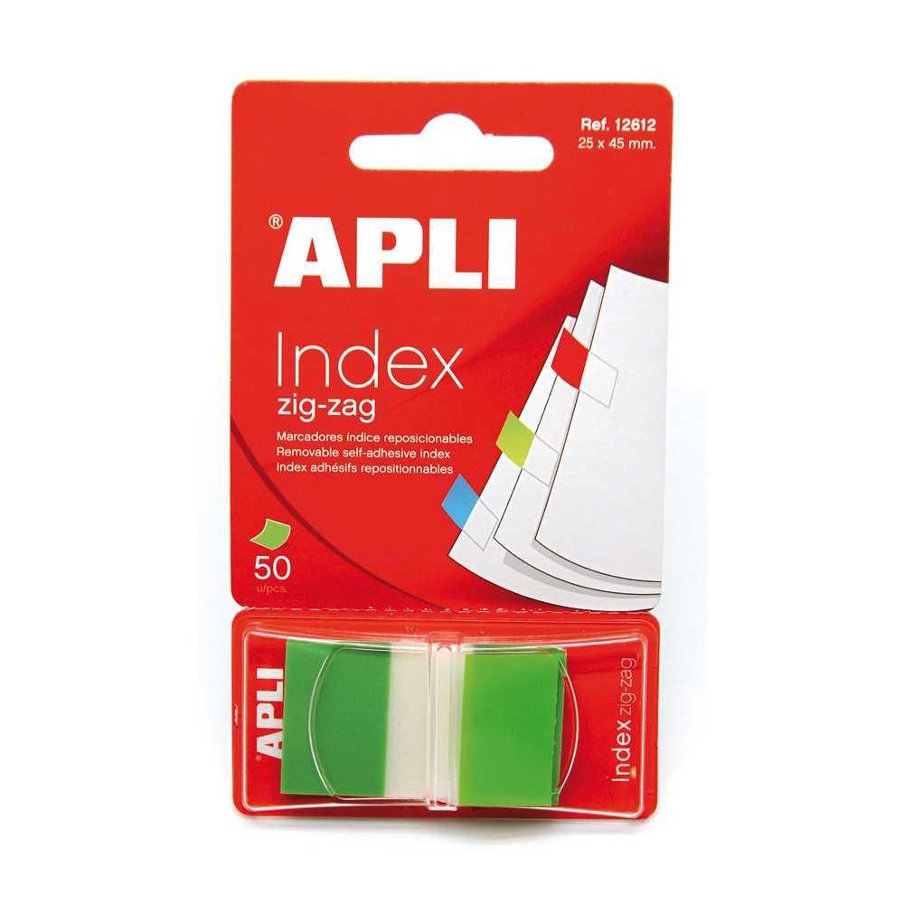 Indices Adhesivos Zig Zag 45x25mm Color Verde Apli 12612