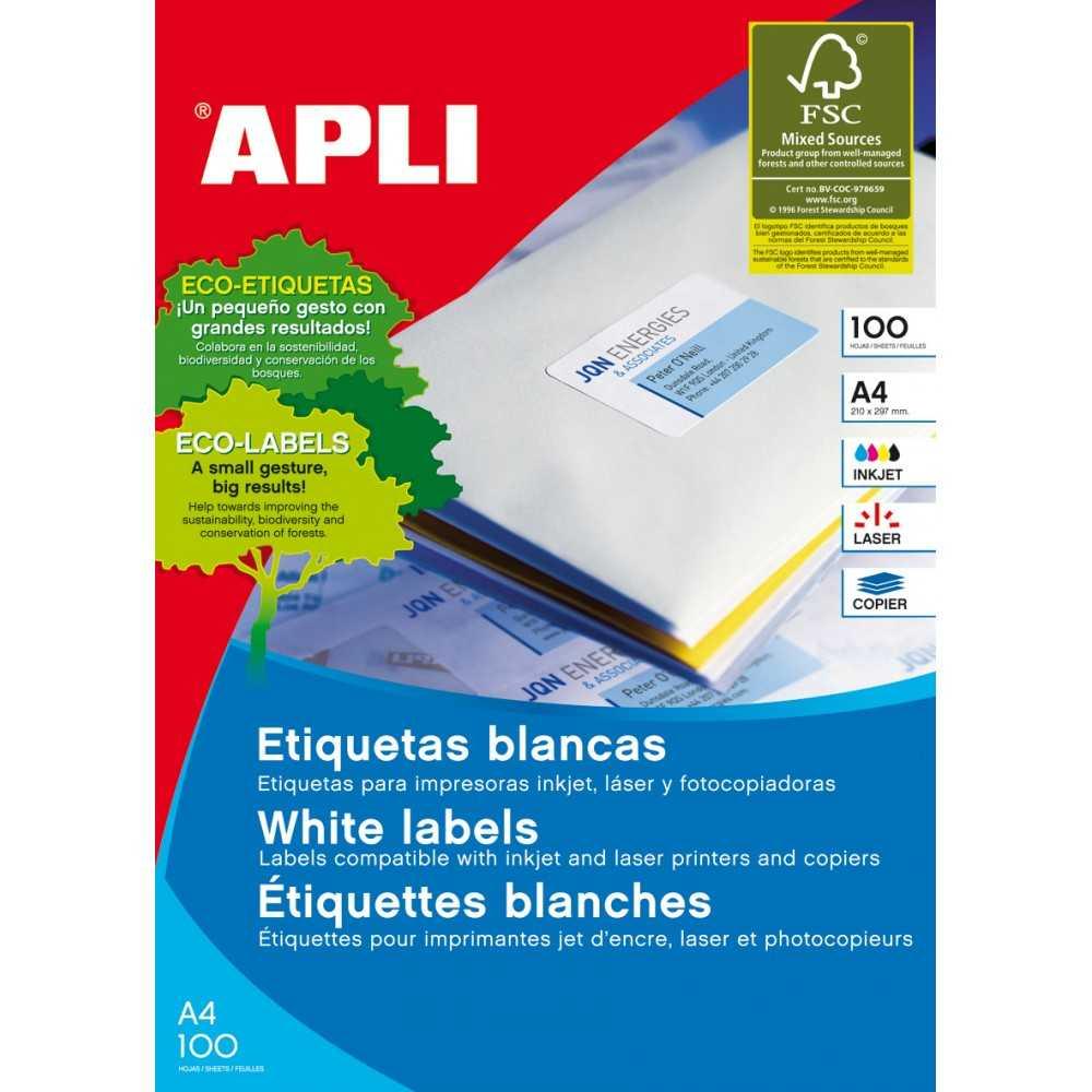 200H A5 Etiquetas blancas con cantos rectos 210x148mm Apli 01243