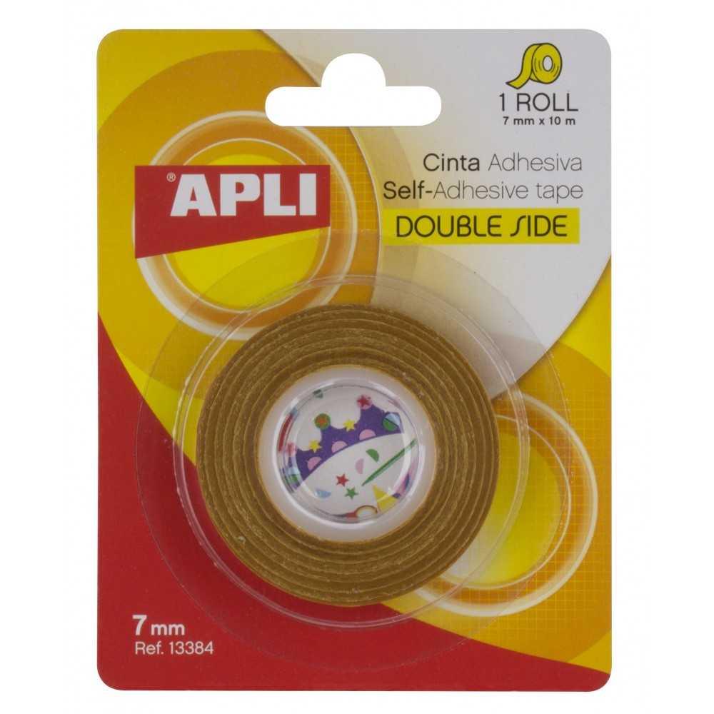 Cinta Adhesiva de Doble Cara Transparente 7mmx 10m Apli 13384 compraetiquetas.com