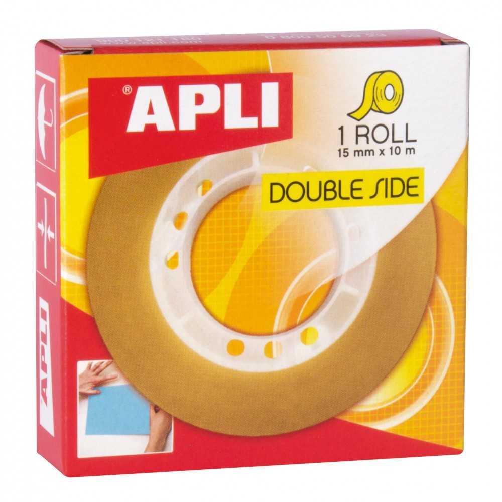Cinta Adhesiva De Doble Cara Transparente 15 mmx10 m Apli 11505