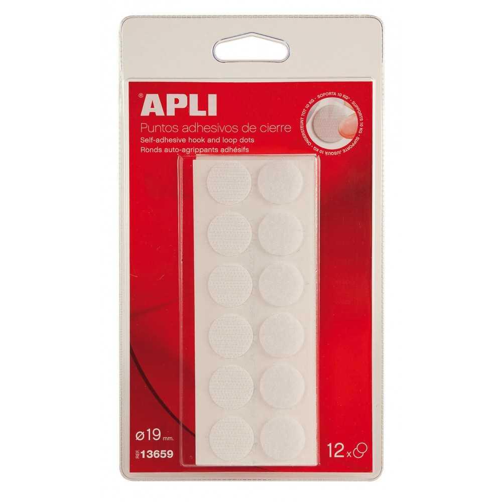 Puntos Adhesivos Cierre Velcro Color Blanco Ø19mm 13659 Apli