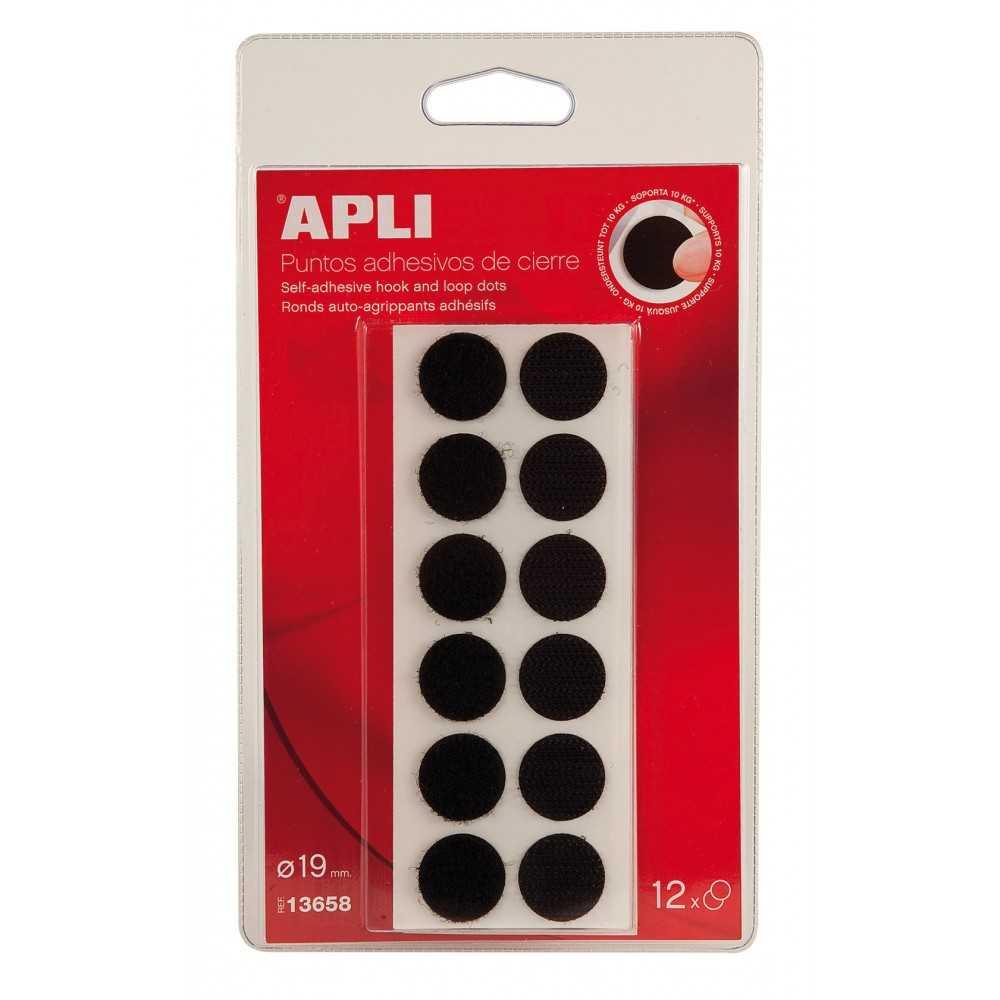 Puntos Adhesivos de cierre Velcro Color Negro Circulo ø19 mm Apli 13658