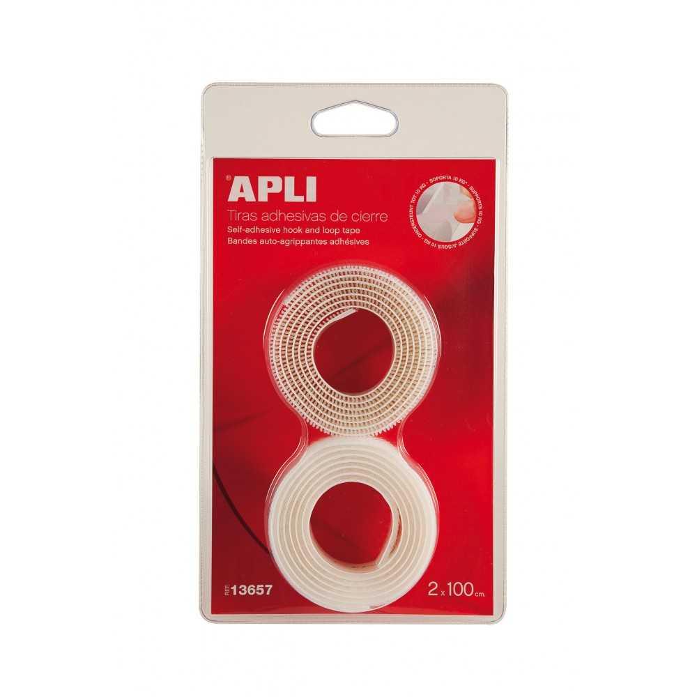 Tiras de Adhesivas de Velcro Para Cierre Color Blanco 2x100cm Apli 13657