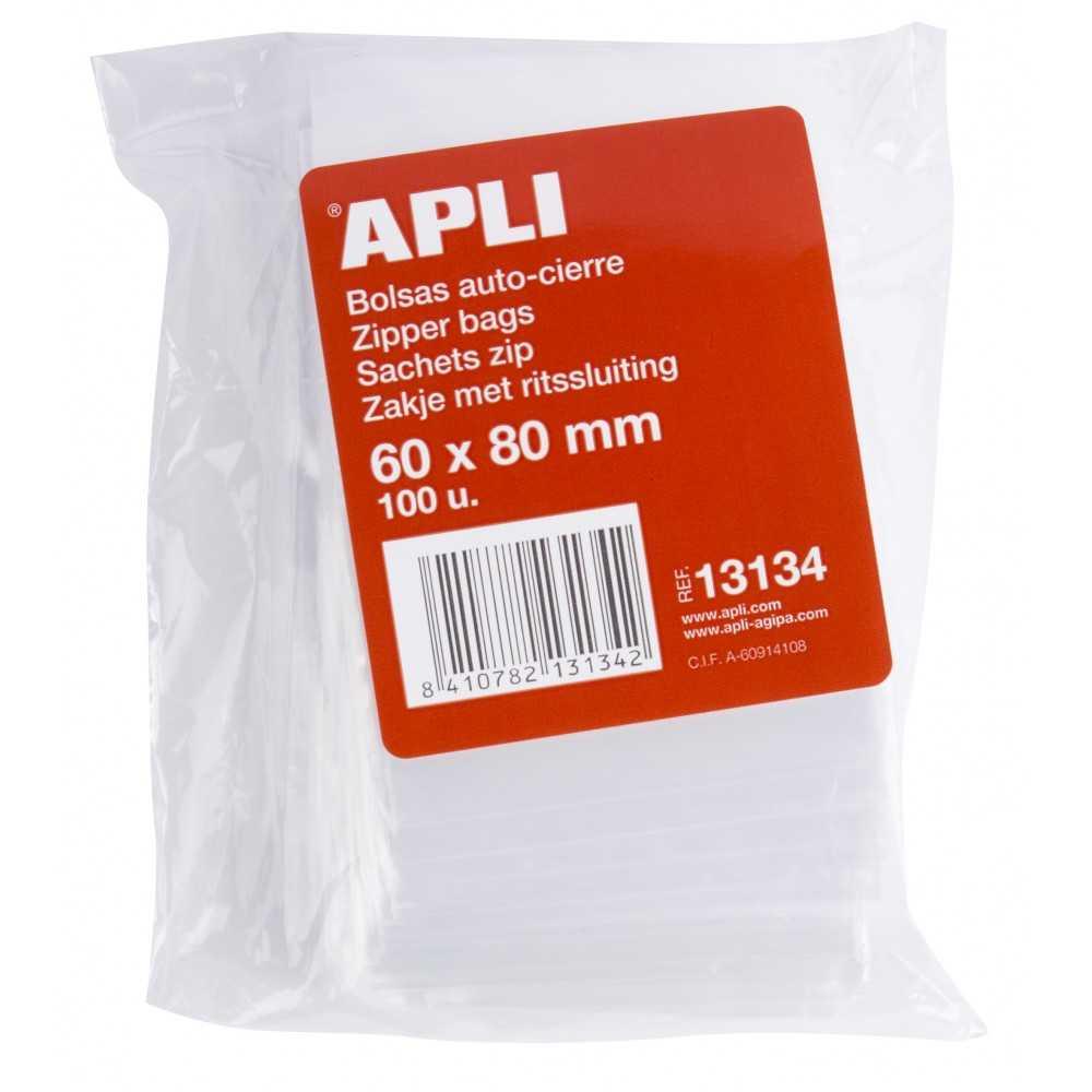 100 Bolsas Plástico con Autocierre 60 x 80 mm Apli 13134 ps.compraetqiuetas.com