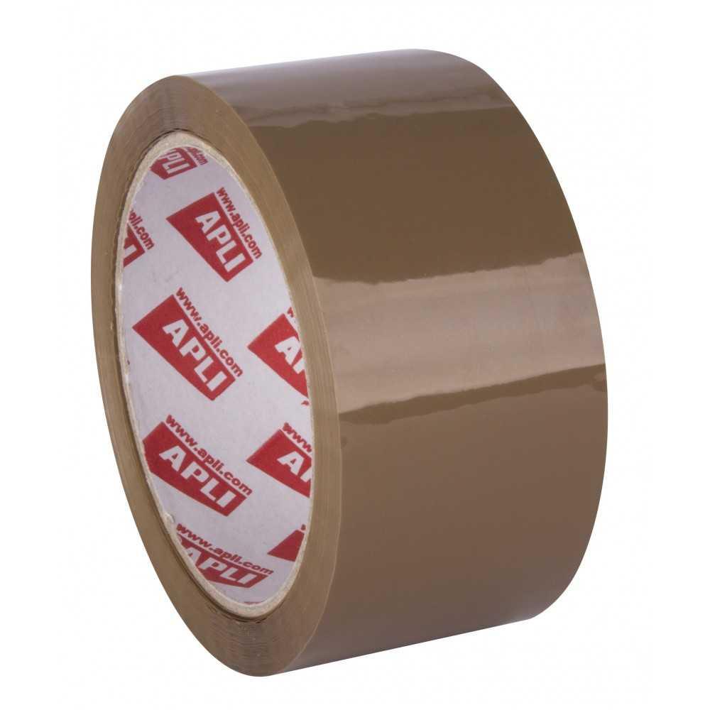 6 Rollos Precinto PVC Adhesivo Solvente Sin Ruido 48 mm x 66m Marrón Apli 11591 compraetiquetas.com