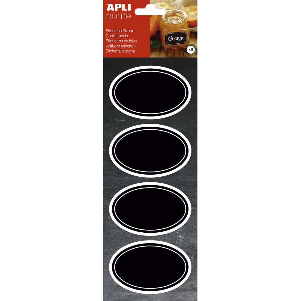 Etiquetas Removibles de Pizarra Ovaladas 80x50mm Apli 16766