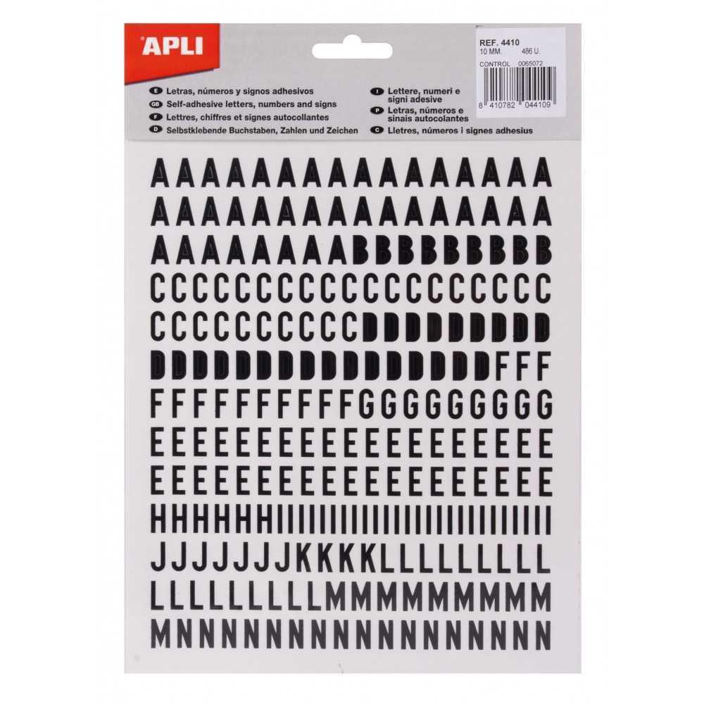 Letras y signos negros mayúsculas Adhesivos 10 mm