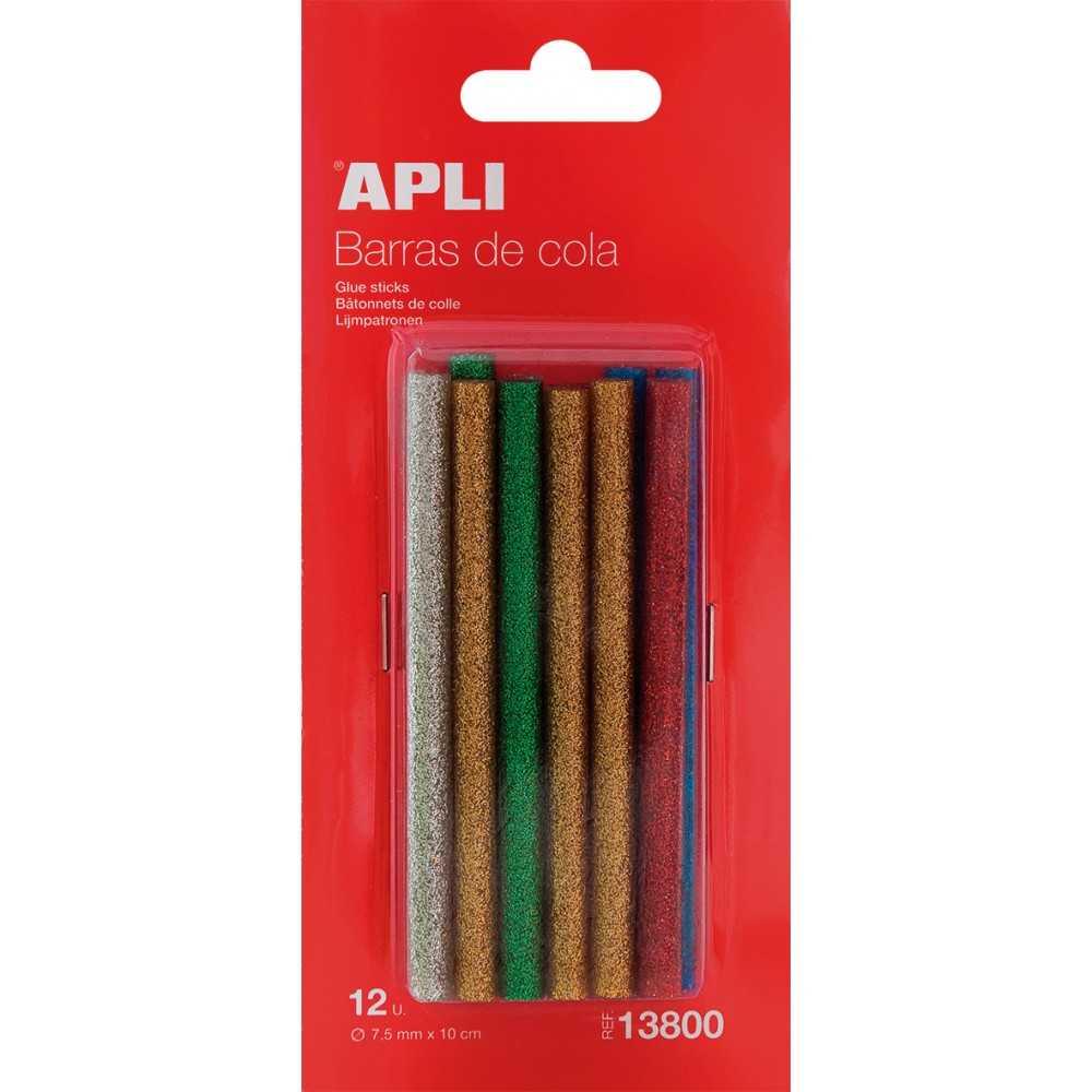 Barritas de Silicona Termofusible Glitter Colores Apli 13800