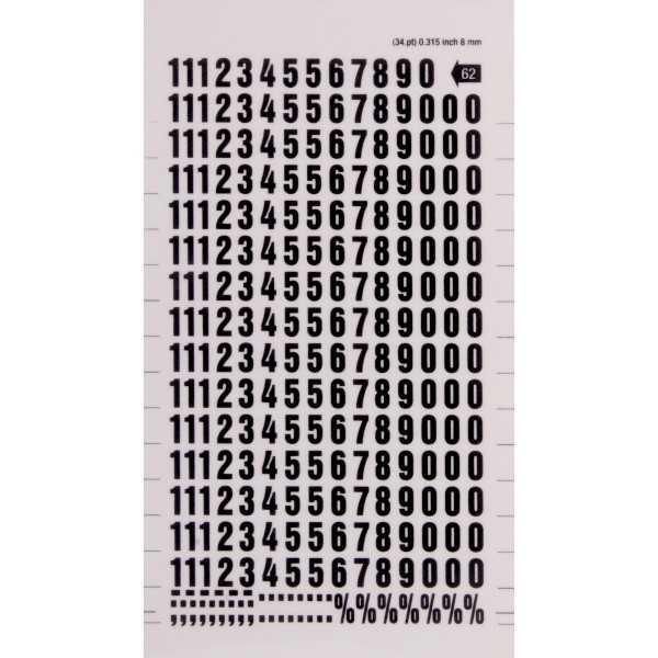 Números y Signos Transferibles Color Negro 8 mm Apli DD62F