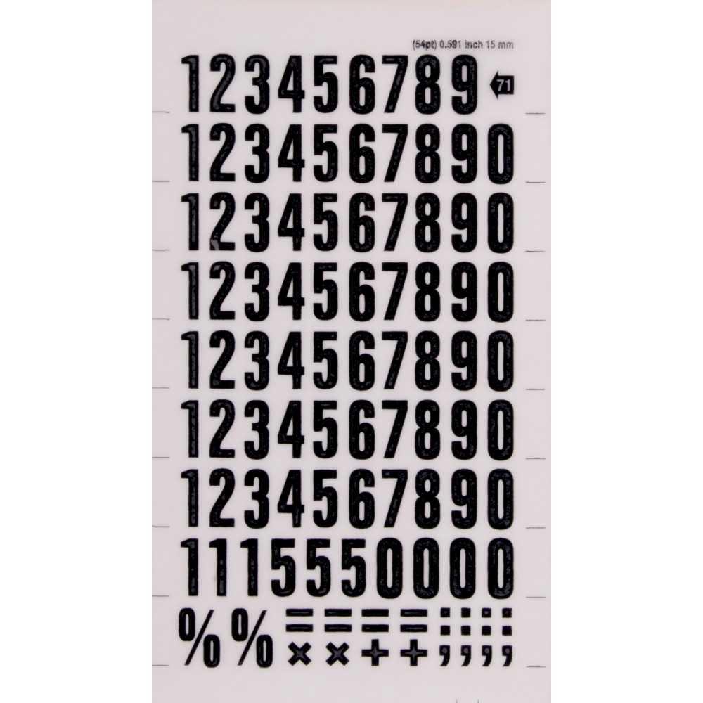 Números y Signos Transferibles Color Negro 15 mm Apli DD71F