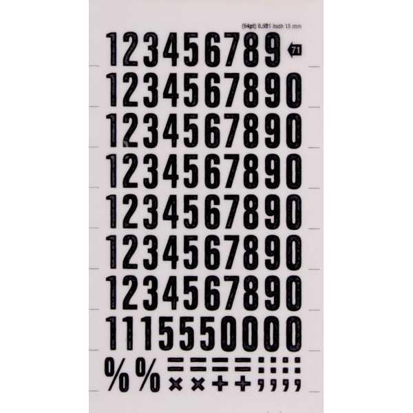 1 Hoja Números y Signos Color Negro 15 mm Decadry by Apli DD71F