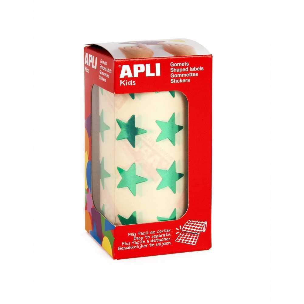 Rollo Gomets Estrellas Verdes 19,5 mm Apli 12054
