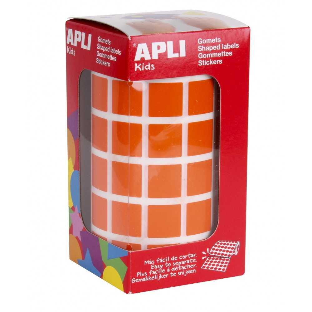 Rollo de Gomets Cuadrado Color Naranja 15 mm Apli 12479
