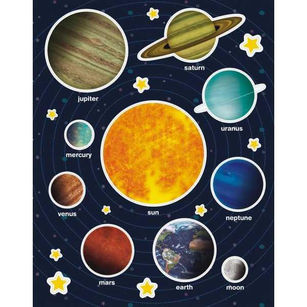 12 Hojas Gomets Temáticos Sistema Solar Apli 15174
