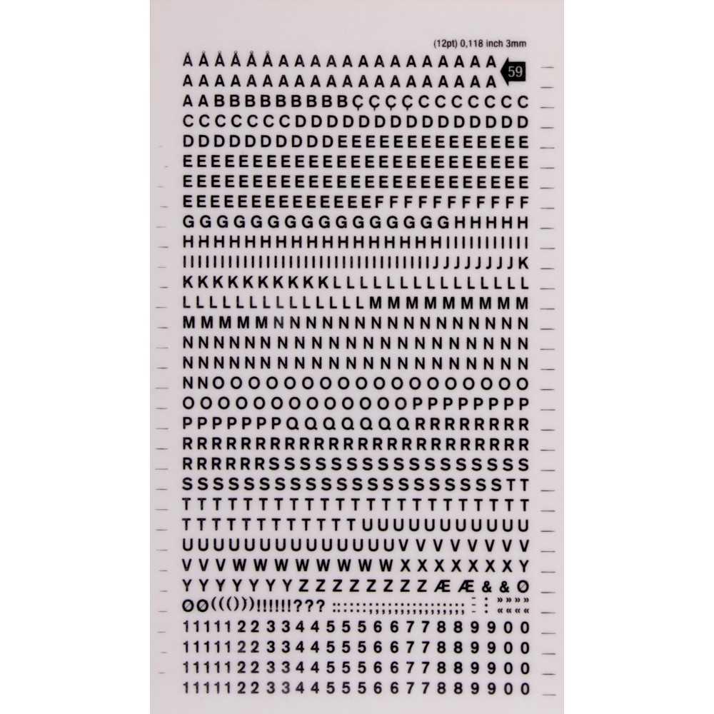 Letras y Números Transferibles Color Negro 3 mm Apli DD59F