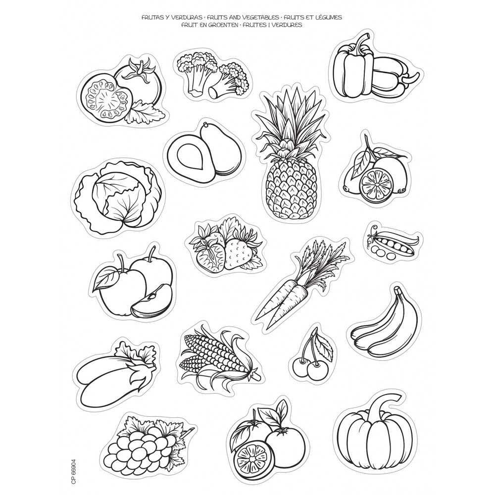 2 Hojas Gomets Tematicos Para Colorear Frutas Y Verduras Apli 16730