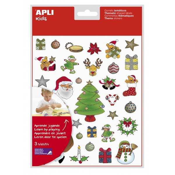 3 Hojas Gomets Temáticos Especiales Navidad Apli 11618